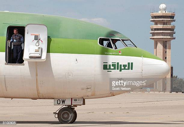 Iraqi insurance adjusters inspect idle Iraqi Airways aircraft at the Baghdad International Airport on March 16 in Baghdad Iraq Iraqi Airways...