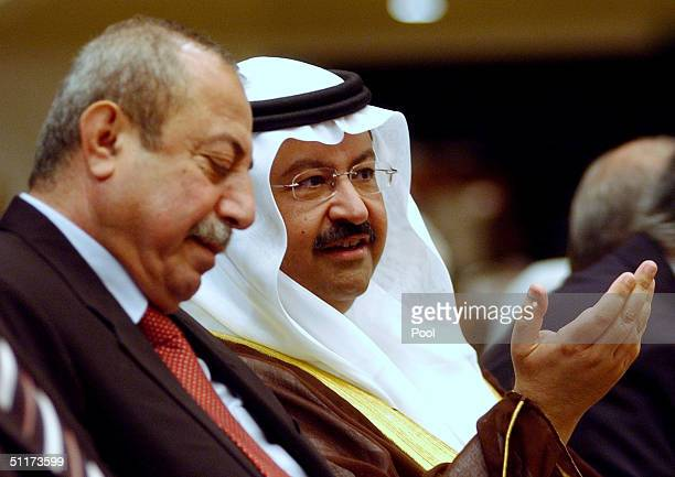 Iraqi interim President Ghazy al Yawer speaks at the opening of the threeday national conference at the Baghdad convention center August 15 2004 in...