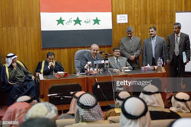 Iraqi interim Prime Minister Ayad Allawi speaks to local politicians and tribal leaders January 26 2005 in Tikrit Sallah alDeen province Iraq At a...