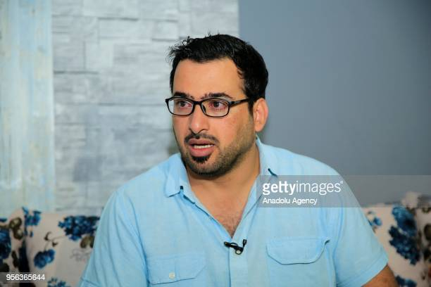 Iraqi journalist Muntadhar alZaidi speaks during an exclusive interview in Baghdad Iraq on May 08 2018 Muntadhar alZaidi announced his candidacy for...