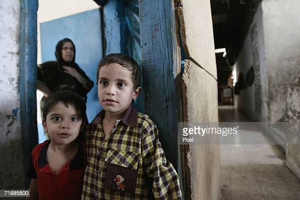 Iraqi Kurd children live inside the fortress which was allegedly formerly used by the Iraqi Army to interrogate and torture Kurds during Saddam...
