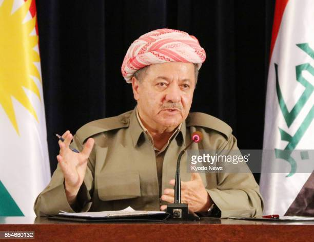 Iraqi Kurdish leader Masoud Barzani speaks at a press conference in Erbil Iraq on Sept 24 2017 Barzani claimed victory on Sept 26 for the 'yes' vote...