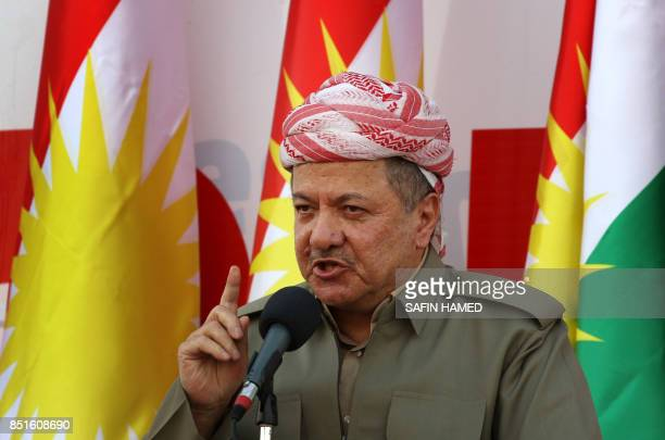 Iraqi Kurdish leader Massud Barzani delivers a speech during a rally to urge people to vote in the upcoming independence referendum in Arbil, the...