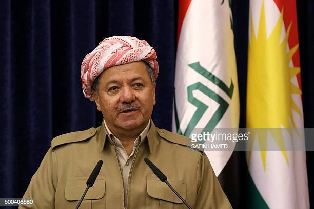 Iraqi Kurdish leader Massud Barzani holds a joint press conference with German Foreign Minister FrankWalter Steinmeier during the latter's visit to...