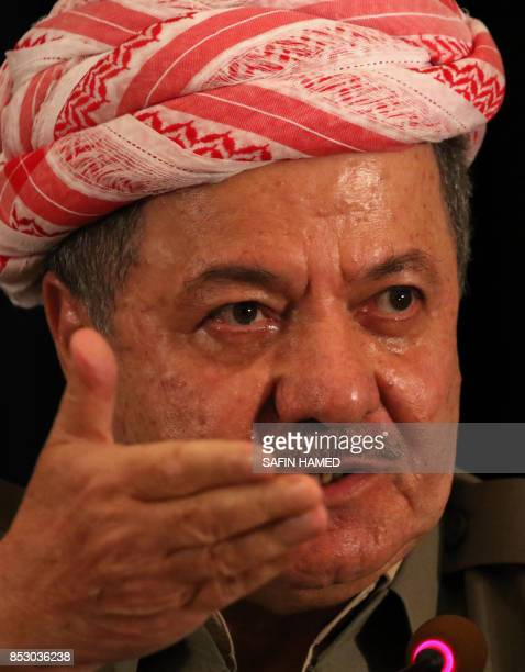 Iraqi Kurdish leader Massud Barzani speaks during a press conference on September 24 2017 in Arbil the capital of the autonomous Kurdish region of...