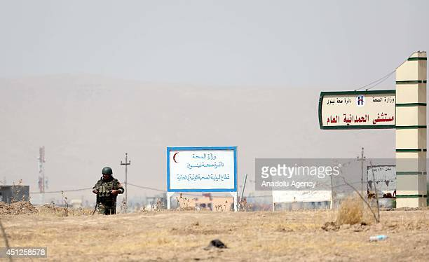 Iraqi Kurdish Peshmerga forces keep guard in Karakus district of Mosul as the clashes keep going between the Islamic State of Iraq and the Levant...