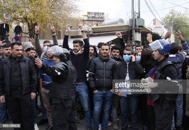 Iraqi Kurdish protestors shout slogans in Sulaimaniyah in the Kurdish autonomous region of northern Iraq on December 19 2017 Five people were killed...
