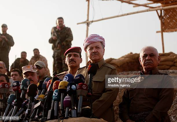 Iraqi Kurdish Regional Government President Masoud Barzani speaks to press as an operation to liberate Mosul from Daesh terrorist organization...