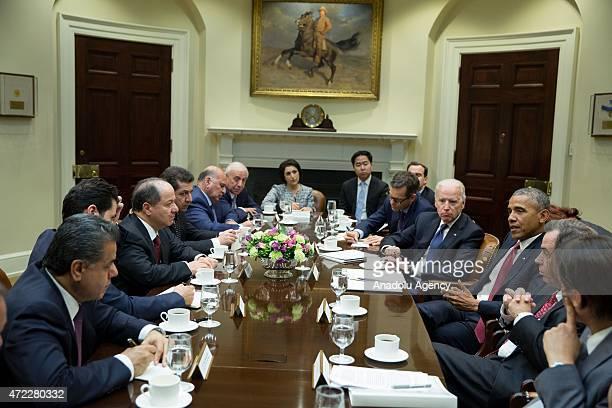 Iraqi Kurdish Regional Government President Massoud Barzani meets wit US President Barack Obama and US Vice President Joe Biden during his official...