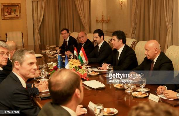Iraqi Kurdish Regional Government Prime Minister Nechirvan Barzani is seen during his meeting with French Foreign Minister JeanYves Le Drian in Erbil...