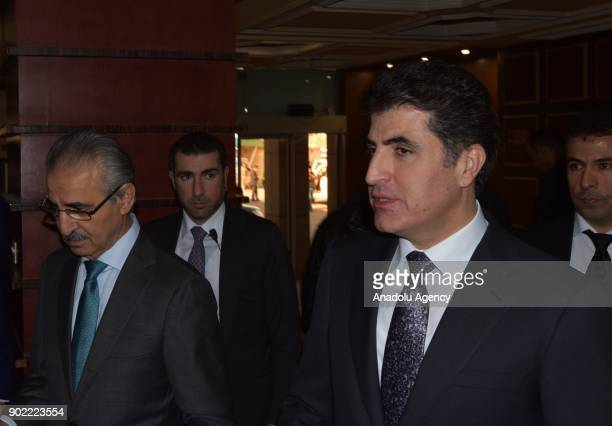 Iraqi Kurdish Regional Government Prime Minister Nechirvan Barzani meets with Mela Bahtiyar who is in charge of Politburo of Patriotic Union of...