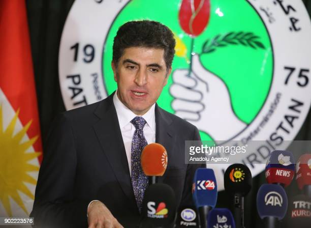 Iraqi Kurdish Regional Government Prime Minister Nechirvan Barzani and Mela Bahtiyar who is in charge of Politburo of Patriotic Union of Kurdistan...