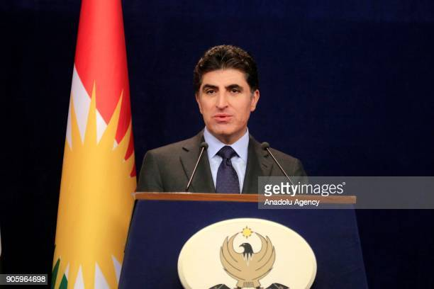 Iraqi Kurdish Regional Government Prime Minister Nechirvan Barzani addresses during a press conference following the cabinet meeting in Erbil Iraq on...