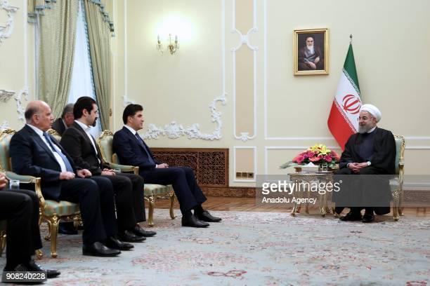 Iraqi Kurdish Regional Government Prime Minister Nechirvan Barzani meets with President of Iran Hassan Rouhani during his visit in Tehran Iran on...