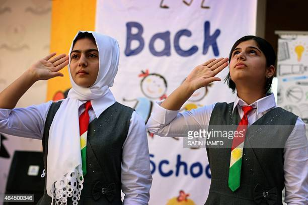 Iraqi Kurdish students attend the first day of the new school year in Arbil the capital of the autonomous Kurdish region of northern Iraq on...