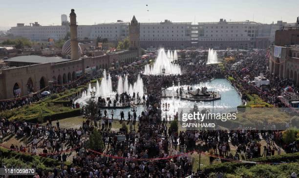 Iraqi Kurds gather in Arbil the capital of the autonomous Kurdish region of northern Iraq on the eve of celebrations marking the birth of Prophet...