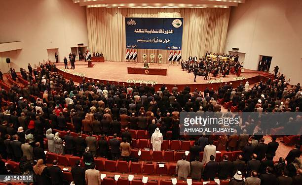 Iraqi members of the new parliament attend their firs session on July 1 2014 in the capital Baghdad Iraq's new parliament failed to elect a speaker...