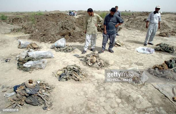 Iraqi men look for lost relatives among the piles of human remains after they were exhumed from a mass grave in Mahawil some 100 kms south of Baghdad...