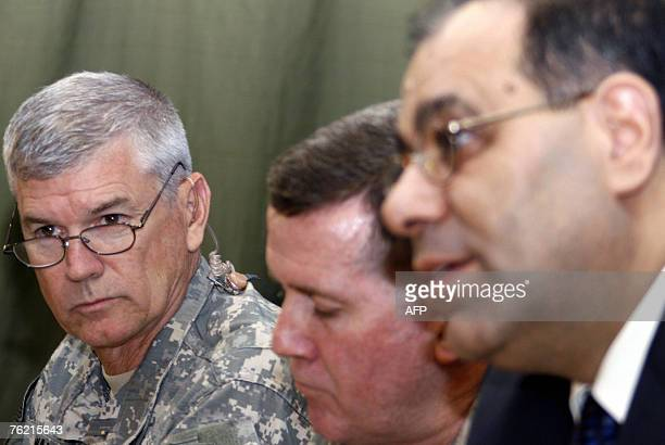 Iraqi Minister of Electricity Karim Wahid speaks during a joint press conference with General Kevin Bergner multiNational ForceIraq spokesman and...