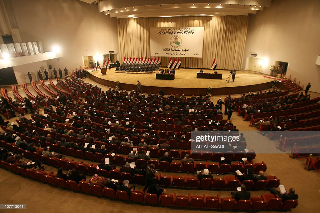 Iraqi MPs are seated in parliament in Ba : News Photo