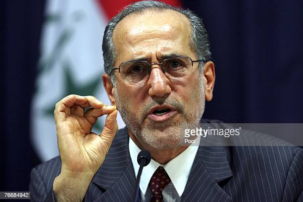 Iraqi National Security Advisor Muwaffaq alRubaie speaks at press conference in the heavily fortified Green Zone on September 12 2007 in Baghdad Iraq...