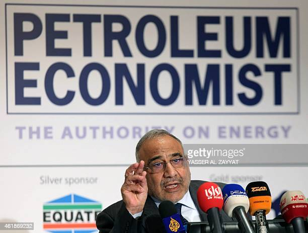 Iraqi oil minister Adel Abdul Mahdi speaks during the opening of a forum to discuss emerging trends in hydrocarbon production and use in the region...