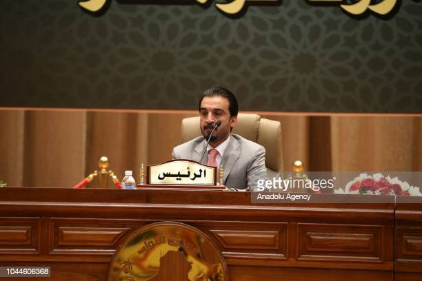 Iraqi Parliament Speaker Mohamed alHalbousi moderates the session of the presidential vote at the parliament in Baghdad Iraq on October 02 2018...