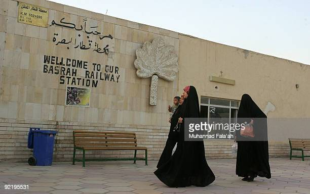 Iraqi passengers are seen after disembarking from the Basra overnight train at Basra Railway Station on October 20 2009 in Basra Iraq As security...