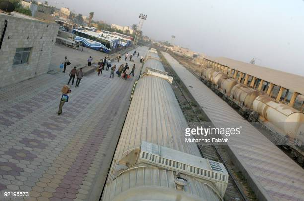 Iraqi passengers disembark from the Basra overnight train at Basra Railway Station on October 20 2009 in Basra Iraq As security continues to improve...