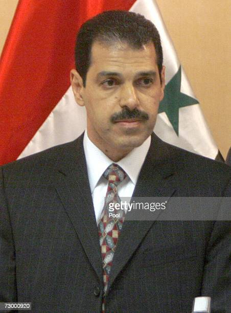 Iraqi PM advisor Bassam AlHusseiny attends a joint press conference with spokesman of Iraqi government Ali AlDubagh on January 15 2007 in Baghdad...
