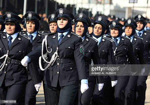 Iraqi police women march during a parade to mark 90 years since its foundation in the Iraqi capital Baghdad on January 9 2012 The force which has...