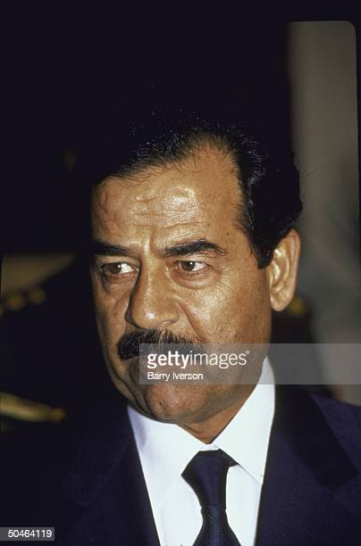 Iraqi Pres Saddam Hussein during surprise visit to Cairo Egypt