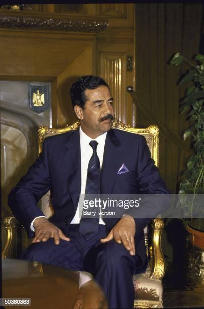 Iraqi Pres Saddam Hussein during surprise visit to Cairo