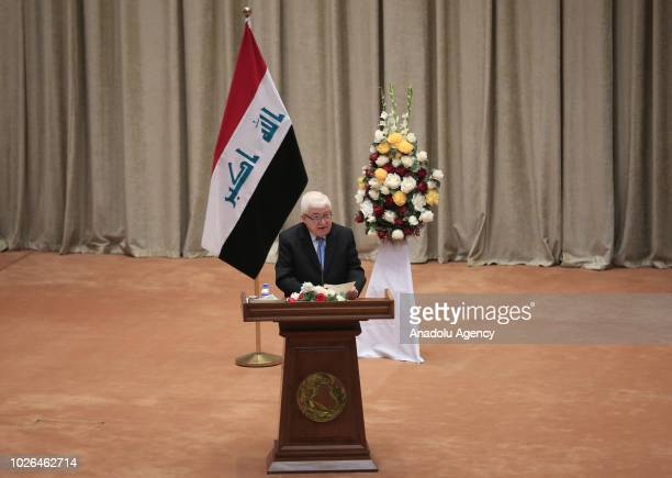 Iraqi President Fuad Masum delivers a speech during the opening session of New Iraqi parliament at the Parliament Building on September 03 2018 in...