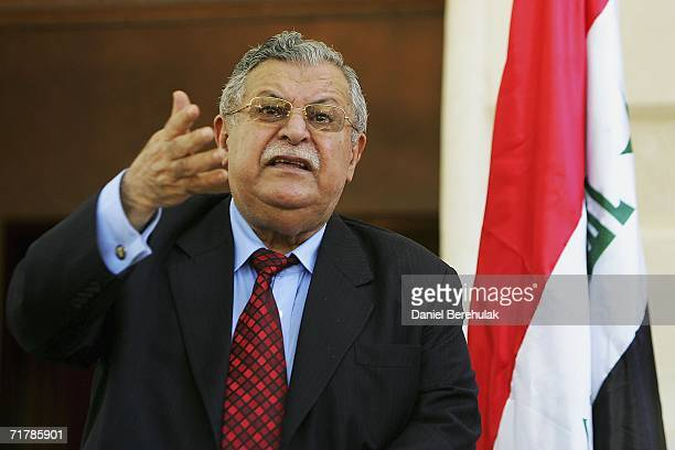 Iraqi President Jalal Talabani attends a press conference with British Foreign Secretary Margaret Beckett on September 5 2006 in Baghdad Iraq...
