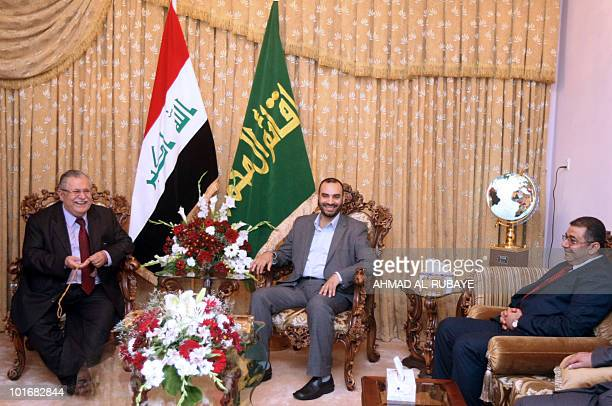 Iraqi President Jalal Talabani meets on May 6 2010 with Shiite Sadrist chiefs Karrar alKhafaji and Qusay alSuhail to discuss the formation of a new...