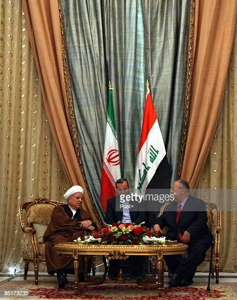 Iraqi President Jalal Talabani meets with Chairman of Iran's Expediency Council Ali Akbar Hashemi Rafsanjani at the presidential palace March 2 2009...