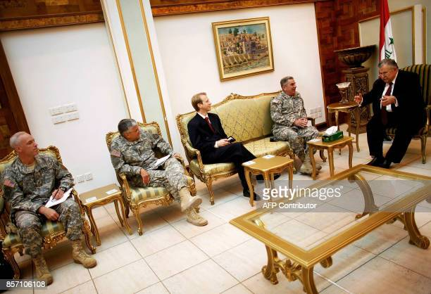 Iraqi President Jalal Talabani meets with the deputy commander of the US Central Command Lieutenant General Lance Smith the head of coalition forces...