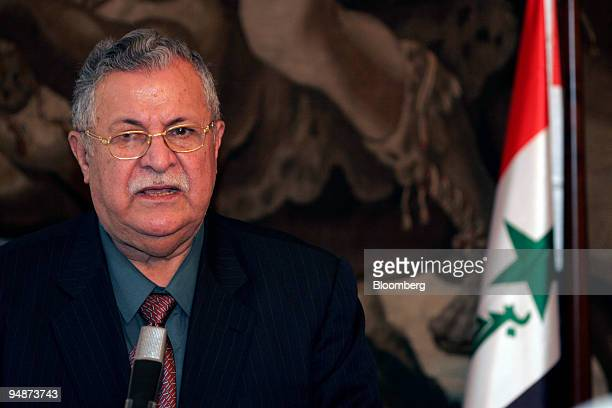 Iraqi President Jalal Talabani speaks at a joint press conference in Prague Czech Republic Monday October 3 2005 Talabani was speaking today at a...