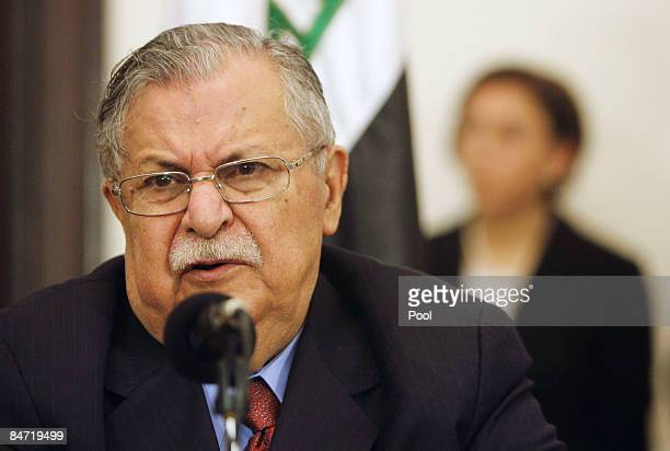 Iraqi President Jalal Talabani speaks during a joint press conference with French President Nicolas Sarkozy on February 10 2009 in Baghdad Iraq...