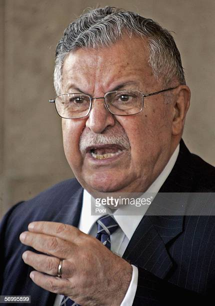 Iraqi President Jalal Talabani speaks to the press following his meeting with General John Abizaid the head of US Central Command on March 4 2006 in...