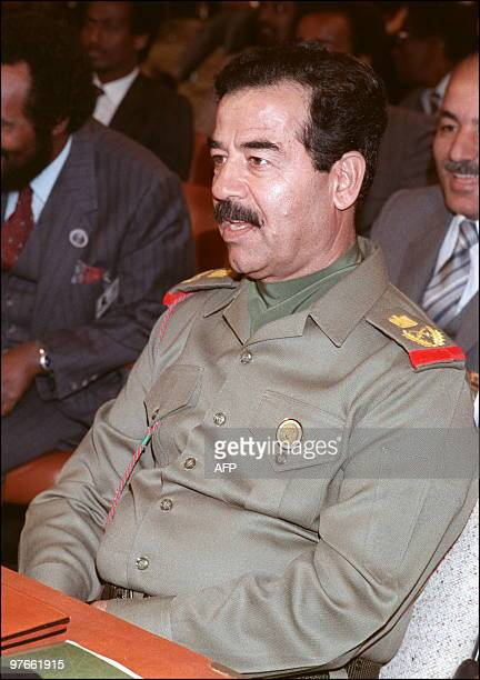 Iraqi President Saddam Hussein 10 November 1987 in Amman during a session of the emergency Arab summit Saddam took the number two job under president...