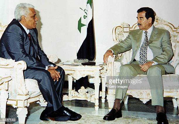 Iraqi president Saddam Hussein receives a message from Sudanese president Omar Hassan alBasheer on bilateral issues between the two countries August...