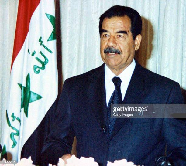 Iraqi President Saddam Hussein speaks marking the 34th anniversary of Iraq's revolution which brought the Baath Party to power July 17 2002 in...
