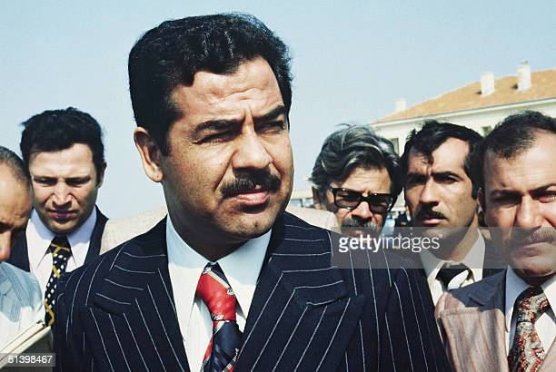 Iraqi President Saddam Hussein visits in September 1975 in Istres French test flight center belonging to French aeronautic and electronics group...