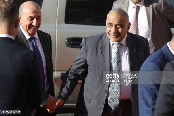 Iraqi Prime Minister Adel Abdul Mahdi arrives to attend a political meeting at the presidential palace in Baghdad on February 27 2019