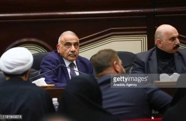 Iraqi Prime Minister Adel AbdulMahdi attends an Iraqi parliament session in Baghdad Iraq 05 January 2020 Iraqi parliamentarians attended a session to...