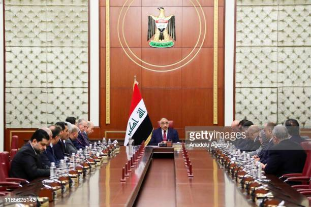 Iraqi Prime Minister Adel Abdul-Mahdi speaks during extraordinary cabinet meeting after he handed his resignation letter to the parliament, in...
