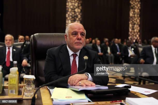 Iraqi prime minister Haidar AlAbadi attends during the Arab League summit in the Jordanian Dead Sea resort of Sweymah Jordan March 29 2017 Arab...