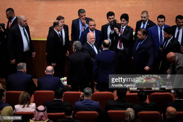 Iraqi Prime Minister Haidar alAbadi participates in the opening session of New Iraqi parliament at the Parliament Building on September 03 2018 in...